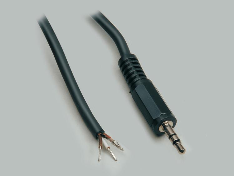 connection cable, audio plug 3,5mm stereo to stripped (10mm) and tinned (5mm) ends, molded, PVC, black, cable-Ø 4,1mm, cable length 1,8m
