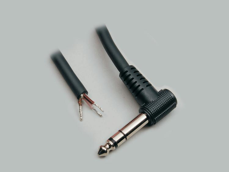connection cable, angled audio plug 6,3mm stereo to stripped (10mm) and tinned (5mm) ends, molded, PVC, black, cable-Ø 6,0mm, cable length 1,8m
