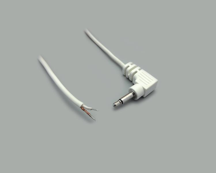 connection cable, angled audio plug 2,5mm mono, white, length 1,8m