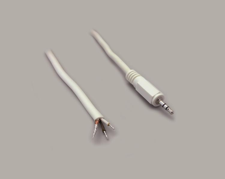 connection cable, audio plug 2,5mm stereo, white, length 1,8m