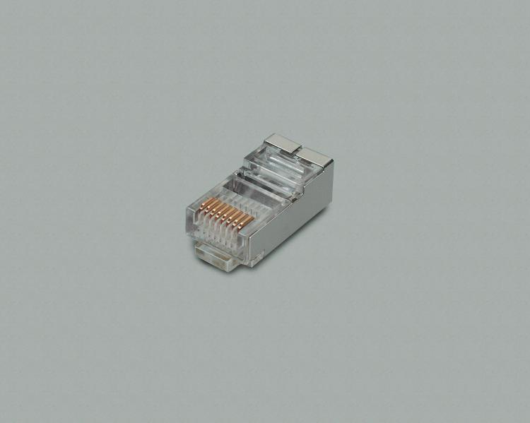 modular plug, 8-pin, 8P/8C (RJ45), gold plated contacts, shielded, for flat cable with stranded conductor