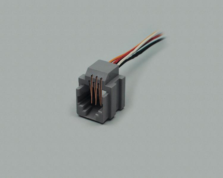 build-in modular socket 8P/8C (RJ45), unshielded, grey, with cable 70mm, for patch panel installation
