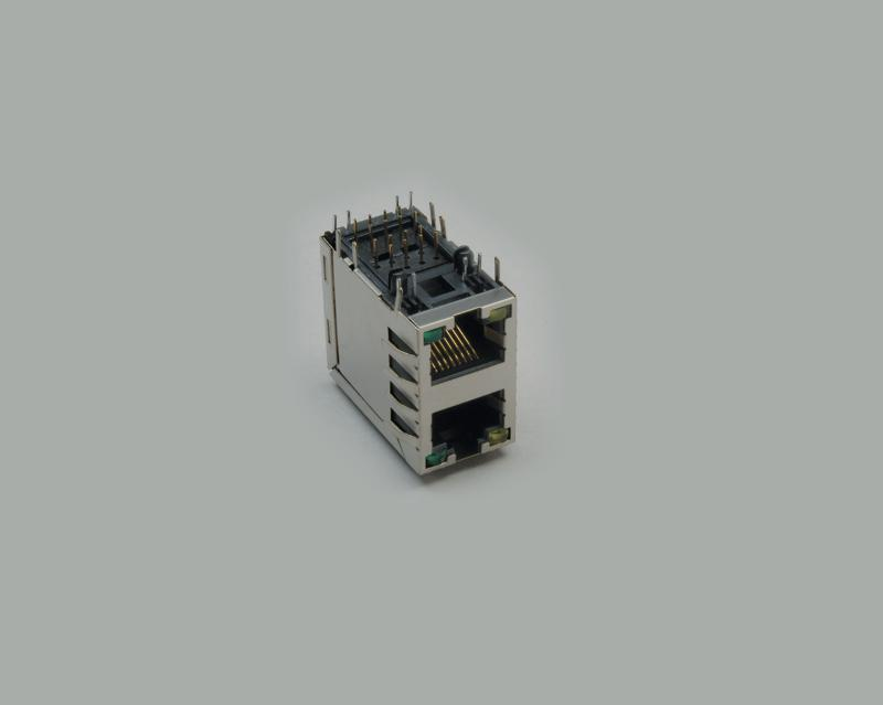 build-in modular socket, 2x8-pin, 8P/8C (RJ45), PCB type 90°, shielded, metal type, with 4x LEDs, 2x green and 2x yellow