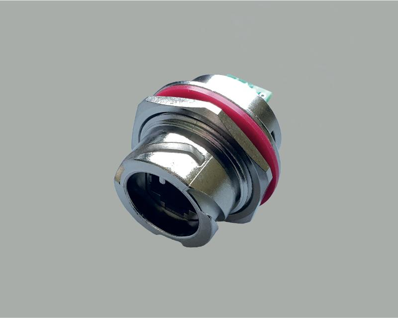 modular build in jack waterproof according to IP67, RJ45 (8P8C), CAT 5e with PCB, robust metal version with bayonet lock